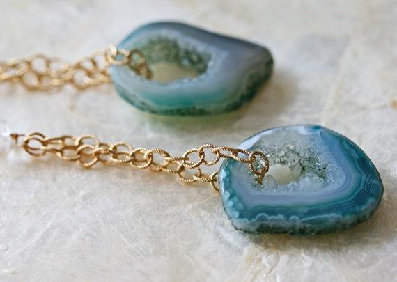 Geode Earring - Geode Slice Earring  - Druzy Earring - Dangle Earring