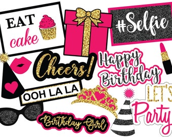 Pink Birthday Photo Booth Props, Instant Download Photo Booth Props, Printable Photo Booth Props, Digital Photo Booth Props, Birthday