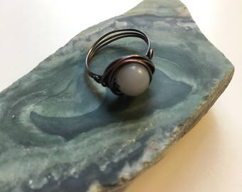 Copper Wire Petite Moon Ring