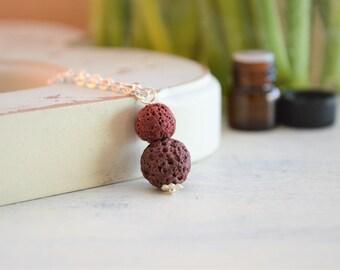Lava Necklace, Essential Oil Necklace, Oil Diffuser Necklace, Lava Stone Necklace, Diffuser Necklace, Red Lava Necklace