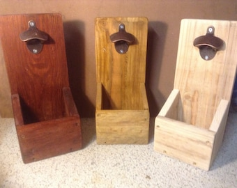 Rustic beer bottle opener with cap catcher. A must for any party or get together.