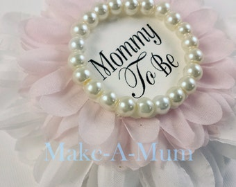 Pink Baby Shower corsage, baby shower favor, Mommy To Be Pin,GLASS PEARLS, Baby Girl,Grandma to Be Pin,baby Announcement, DUETTE/pEARLS/mTB