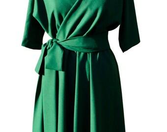 Baylis & Knight Green Wool Crepe wrap dress