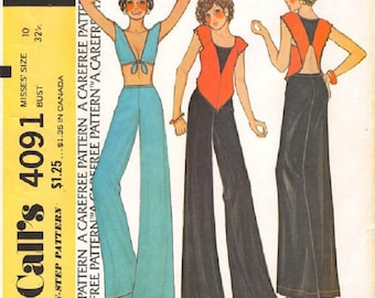 McCall's 4091 Misses Swan Top Or Tie Bodice Top And Flared Pants Pattern, Size 10, UNCUT