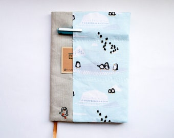 Penguin Waddle - adjustable A5 fabric bookcover