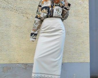 Vtg Fringed Beige Skirt / Linea V / Maxi 80s Skirt / Autumn Winter / Hipster / Boho / Bohemian / Hippie / Retro / Festival / Retro Fashio