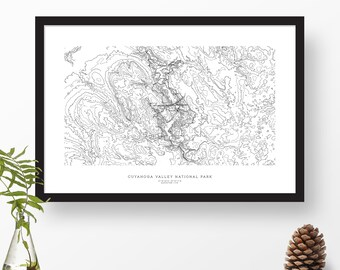Cuyahoga Valley National Park, Ohio | Topographic Print, Contour Map, Map Art | Home or Office Decor