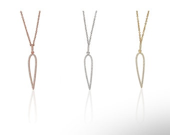 Needle Necklace Cz Gold Vermeil 925 Silver Yellow Rose