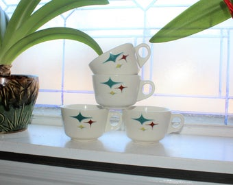 4 Vintage Restaurant Ware Coffee Cups Syracuse China Trends Jubilee