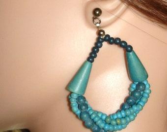 vintage turquoise twisted beads hoops pierced earrings