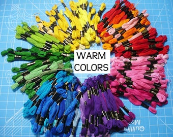 Embroidery Floss, Cross Stitch Floss, Cross Stitch Thread, Embroidery Thread, 21 Warm Colors, By the Skein