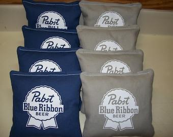 Pabst Blue Ribbon 8 Custom Cornhole Bags +FREE BLACK BAG