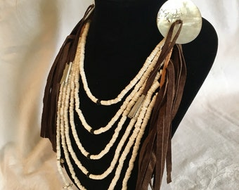 Crow style loop necklace, pow wow regalia, dark brown leather finge, large shell gorget, shell button, white clam shell, bells, metal cones