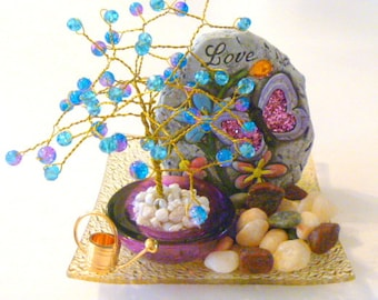 Blue and Pink  Beaded Bonsai Tree Wire Wrapped Sculpture with Love Butterfly Rock  Centerpiece