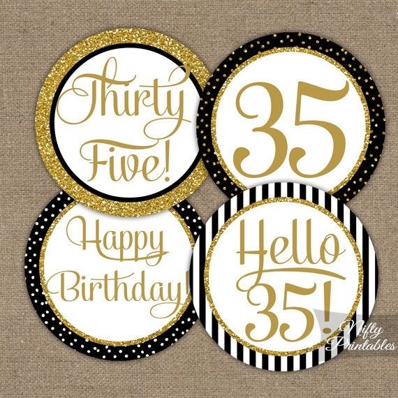 35th Birthday Cupcake Toppers Black Gold 35 Years Bday