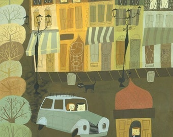 Stopping for Directions in France. Limited edition print by Matte Stephens.