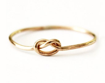Ring - Dainty True Lover's Knot Ring - 14K Gold Filled Love Knot  - 925 Sterling Silver - Promise - Friendship - Best Friend