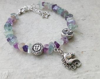 Celestial Unicorn Rainbow Fluorite Bracelet