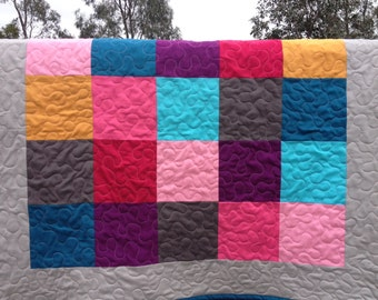 Sale! Pink, Purple, Blue, Orange, and Gray Patchwork Baby Girl Quilt