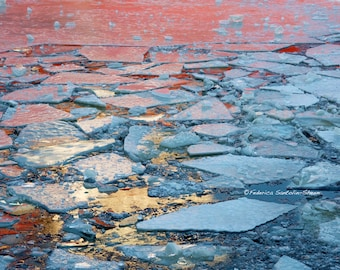 Montreal - St Laurent River - Winter photography - Frozen water - Crushed Ice - Reflections - Red - Gold - Wall Decor - Shattered