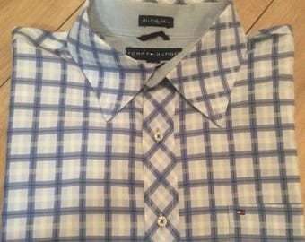 Authentic vintage Tommy Hilfiger blue checked formal shirt
