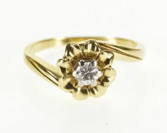 14k 0.15 Ct Diamond Solitaire Flower Freeform Ring Gold