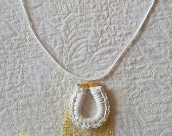 Collar necklace, necklace, jewelry women, collar necklace in White leather, white and Golden leather necklace