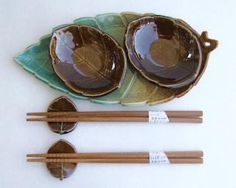 Ceramic Sushi Set, Hand Built, Beautiful Leaf Design, Serve for Two