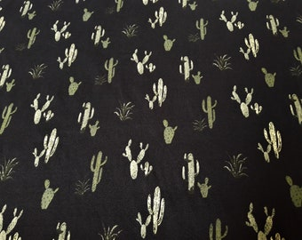 Cactus Print Knit, Double Brushed Poly Knit, Green on Black Stretch Jersey Knit Fabric, 4 way stretch, by the yard