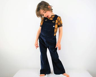 Navy blue dungarees boys overalls girls unisex childrens clothing flared or straight leg dark blue kids vintage retro flares outfit