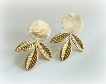 Dot Sterling Silver Studs - Mixed Metal Leaves Earrings - Leaf Silver Studs - Leaf Gold Studs - Leaf Jewelry - Modern Dot Silver Studs