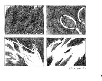 Quote Art Print, Pencil Illustration, Anxiety Awareness, Mental Health, Pencil Drawnig, Illustration Print, dark art, letting go, depressed