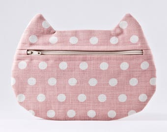 Pink Makeup Bag, Polka Dot Cosmetic Bag, Pills Case, Pencil Case, Cat Lover Gift, Zipper Bag, Toiletries Bag, Cat Bag, Gift for Her
