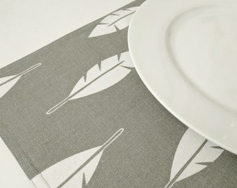 Gray & White Feather Placemats - Fabric Placemats - Set of 4