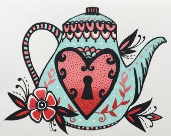 Teapot silkscreen print