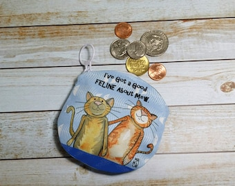 Coin Purse Cat 4x4 Round Cat Pun Fun Cat Humor Wallet for Coins Earbuds Gift Cards Makeup