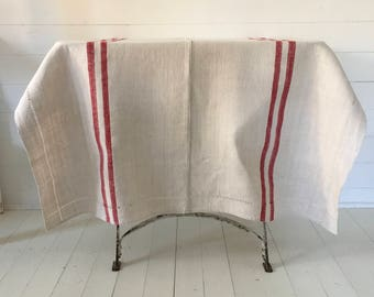 OT1103 Red Stripe Tablecloth Linen