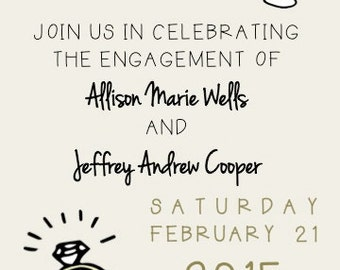 PRINTABLE Engagement Party Invitation with Champagne Glass and Engagement Ring Design - Custom Personalized Invitation, Various Sizes