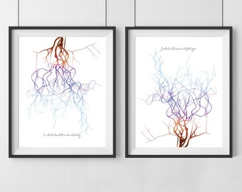 Watercolor meditation print- Sweet Oxygen Collection - Meditation print  - Set of 2