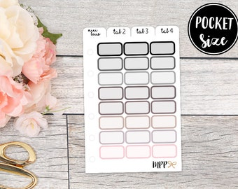 Pocket Size Mini Boxes Neutral Stickers    Pocket Size Insert Mini Functional Planner Stickers