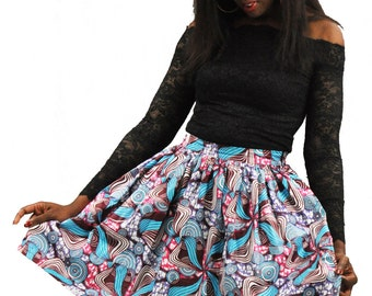 Colorful floral print and turquoise and pink wax African ankara skirt