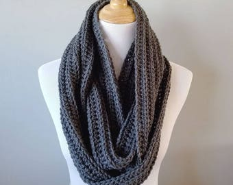 Crochet Infinity Scarf - Cowl - Dark Gray - Winter - Hygge