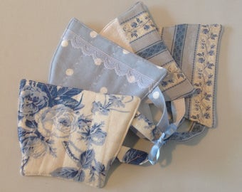 4 Quilted tea cup coasters