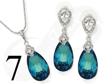 Set of 7 Bridesmaid Jewelry Set Bridesmaid Blue Jewelry Set Bridesmaid Blue Jewelry Set Bridal Jewelry Bridal Set Bridesmaid Gift