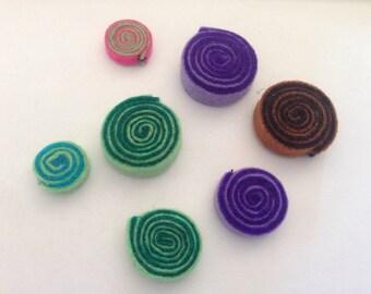 7 felt spirals for crafts, textile fabric, felt yard, scrapbooking, crafts, supplies, patchwork accessories, felt dies