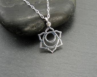 Chakra - Sacral Chakra Necklace, meditation, sterling silver, charms, chakra jewelry, yoga jewelry, boho necklace