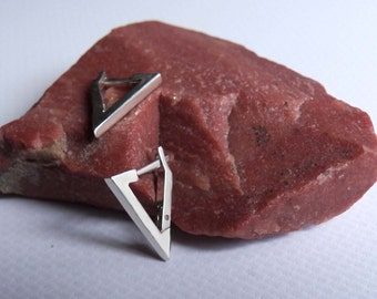 Triangle Male Earrings Sterling Silver Men's Hoops Geometric Jewelry