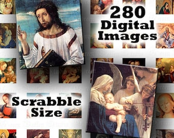 INSTANT DOWNLOAD Vintage Religious Christian 5 Digital Images Collage Sheets Scrabble .75 x .83 Inch for Pendants (S5,S56,S112,S123,S124)