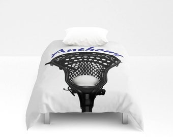 Lacrosse Duvet Cover-Lacrosse Duvet with Name-Duvet Cover-Sports Duvet Cover-Sports Bedroom-Boys Bedding-Long Twin-Personalized Duvet