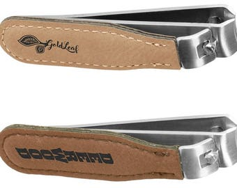 Personalized Customized Leatherette Nail Clippers Light Brown or Dark Brown and  9 colors to choose from